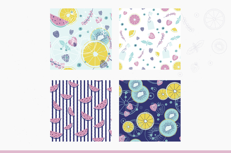 Fresh seamless pattern collection with fruits and berries. Hand drawn sweet print.