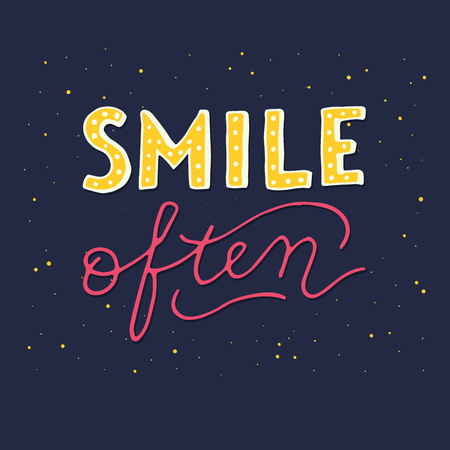 Vector typography Smile often  on dark blue background. Magical lettering. 免版税图像 - 98661316