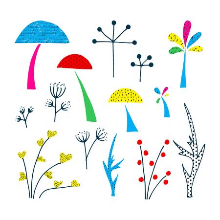 Forest clip art elements. Cutout graphic illustration.
