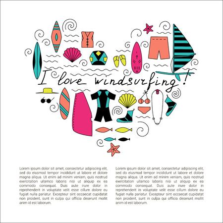 I love windsurfing illustration. Active sport design concept. Stock Illustratie