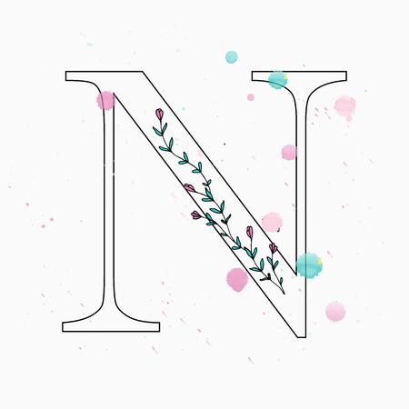 Floral letter N vector illustration
