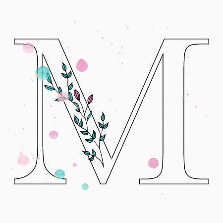 Floral letter M vector illustration