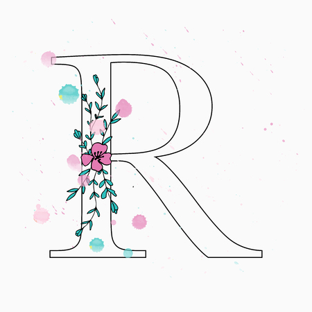 R letter. Hand drawn floral alphabet with watercolor drops. Vector wedding symbol. 矢量图像