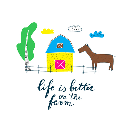 Hand drawn card about farm with Life on the farm quote Vector illustration.