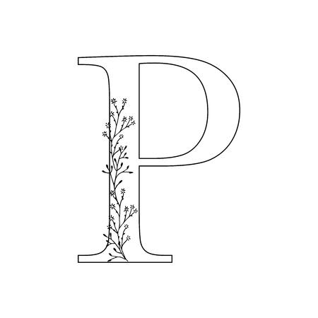 Floral letter P vector illustration 矢量图像
