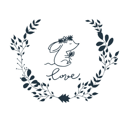 Floral wreath with love lettering and mouse Hand drawn illustration. 矢量图像