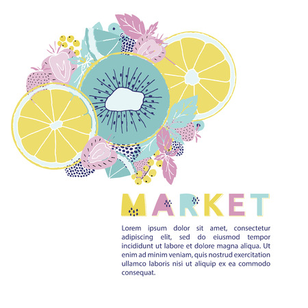 Fresh market design concept, Hand drawn vector illustration with fruits and berries 矢量图像