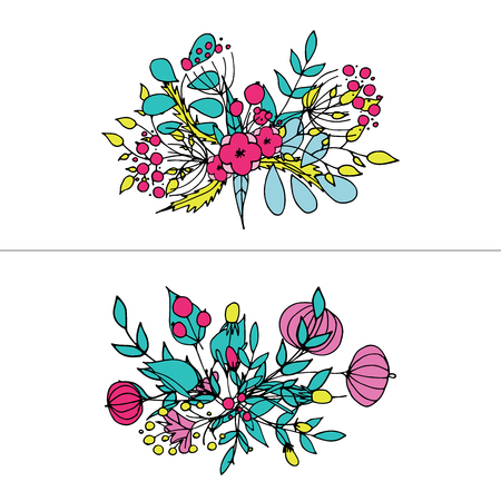 Hand drawn floral bouquets vector illustration set