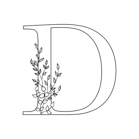Floral letter D. Romantic lettering design with flowers. Isolated vector mono line symbol.