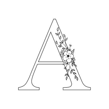 Floral letter A vector illustration 矢量图像