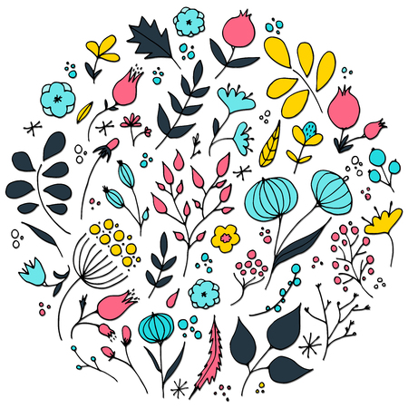 Hand drawn flowers in circle shape vector illustration