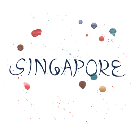 Singapore lettering. Illustration with watercolor drops.