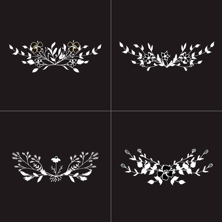 Hand drawn romantic floral bouquets. Vector floral arrangements.