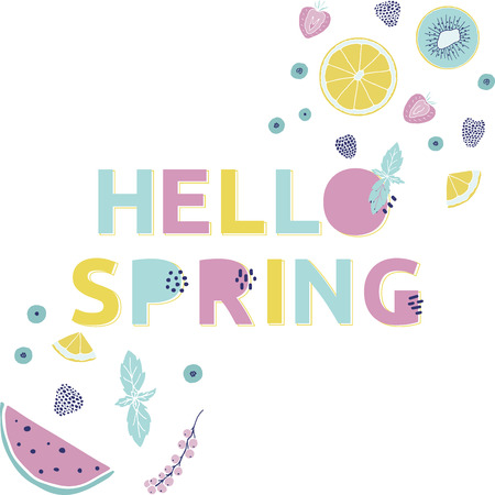 Hello spring card. Hand drawn illustration with fruits, berries and funny alphabet. Illustration