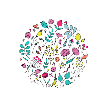 Hand drawn flowers in circle shape. Romantic surface design. Vector pattern with flowers. 免版税图像 - 98661339