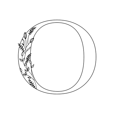 Floral letter O. Romantic lettering design with flowers. Isolated vector mono line symbol.