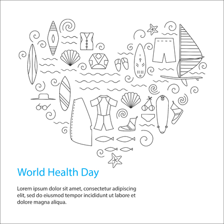 World Health Day. Active sport design concept. Vector illustration.