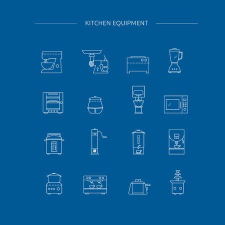 Kitchen appliances line icon set. Kitchenwares collection. 免版税图像 - 98661341