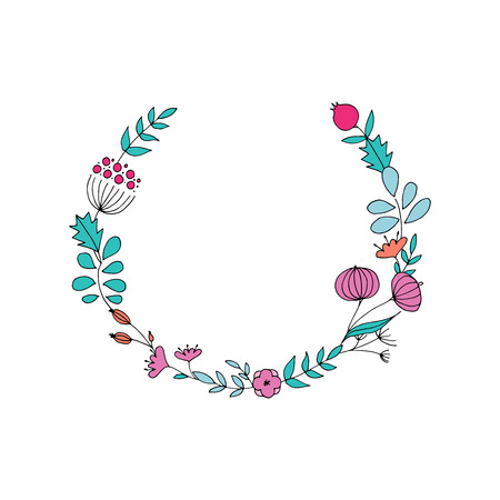 Hand drawn floral wreaths. Circle with flowers. 矢量图像