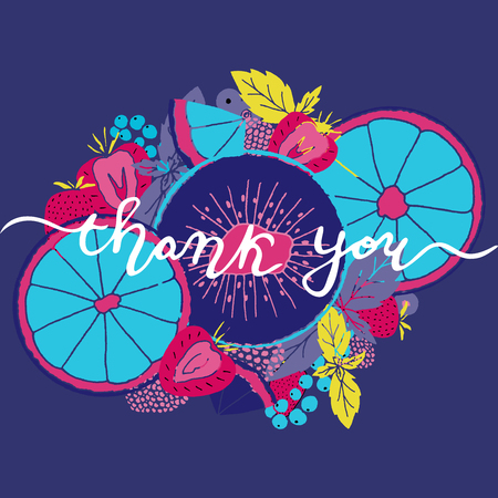 Thank you calligraphy with fruits and berries vector illustration