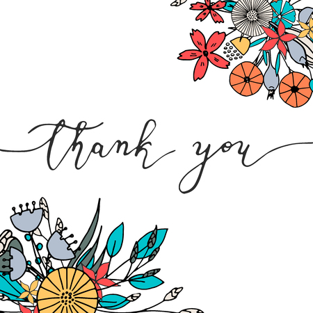 Thank you hand drawn card. Vector illustration with lettering and flowers. 矢量图像