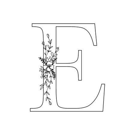 Floral letter E vector illustration