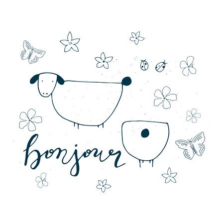 Bonjour card. Farm animal illustration. 免版税图像 - 98661377