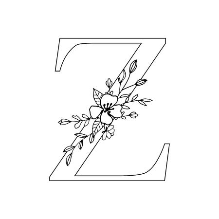 Floral letter Z vector illustration