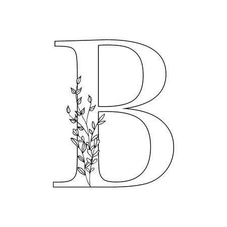 Floral letter B vector illustration