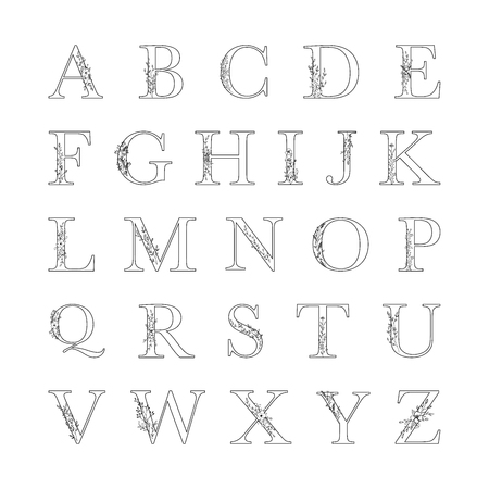 Mono line floral alphabet vector illustration set