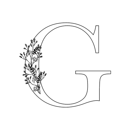 Floral letter G. Romantic lettering design with flowers. Isolated vector mono line symbol.