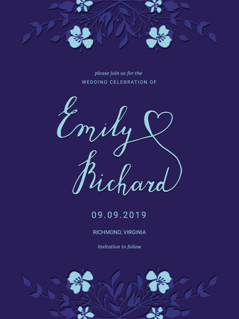 Save the Date card with hand drawn flowers. Floral wedding invitation.