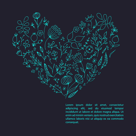 Hand drawn floral elements in heart shape vector illustration