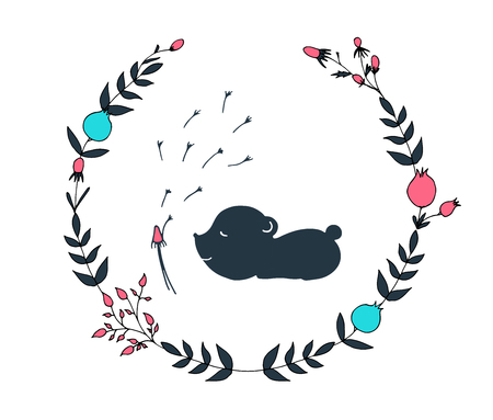 Hand drawn floral wreath with a mouse vector illustration