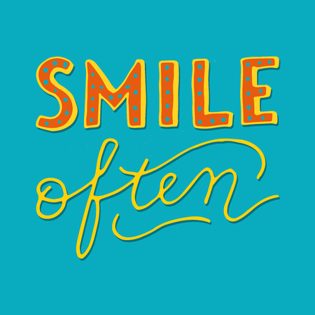 Smile often - retro style hand lettering. Great for cards, posters, prints, t-shirts, etc.