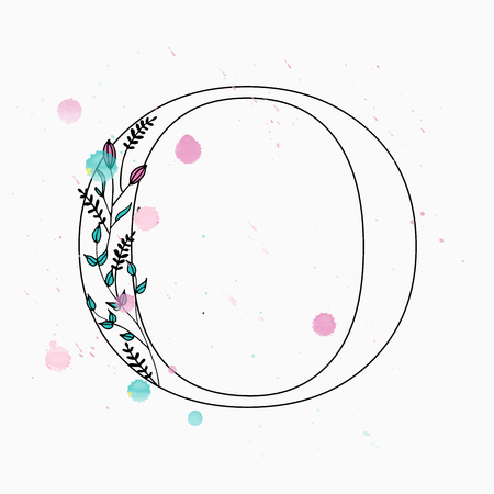 O letter. Hand drawn floral alphabet with watercolor drops. Vector wedding symbol. 矢量图像