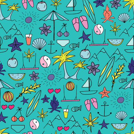 Summer seamless pattern. Hand drawn summer time vector print.