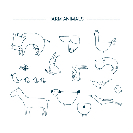 Farm animals illustration. Hand drawn isolated clip art elements.