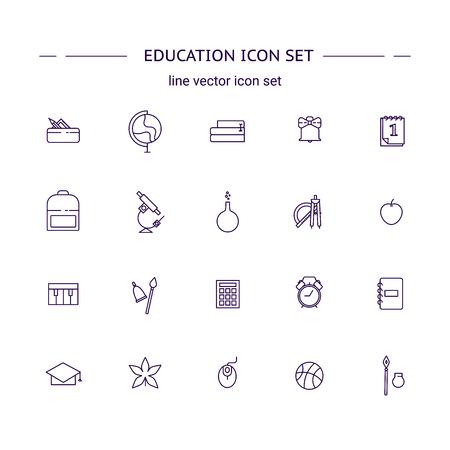 Education mono line icon set. Back to school graphic design. 矢量图像
