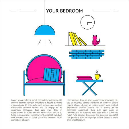 Bedroom Interior design concept vector illustration 矢量图像