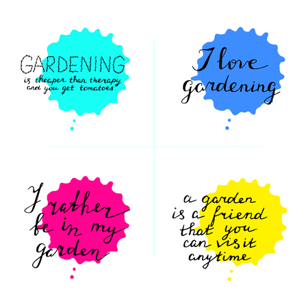 Hand lettering set about gardening. Phrase with watercolor drops.