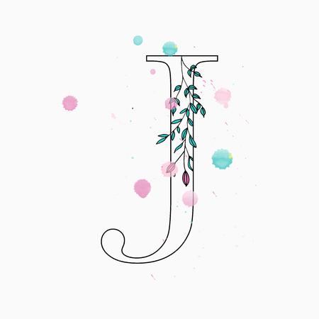 Floral letter J vector illustration 矢量图像