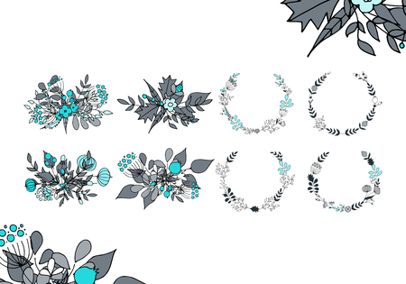 Hand drawn floral bouquets and wreaths vector illustration set