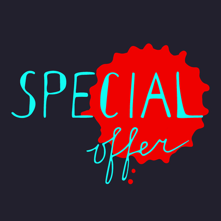 Special offer card. Hand drawn lettering with red drop.
