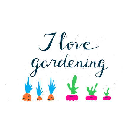 Hand drawn illustration about gardening. Lettering with graphic elements.