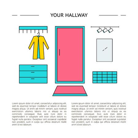 Hallway Interior design concept vector illustration