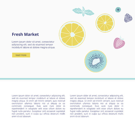 Fresh market design concept. Hand drawn vector illustration with fruits, berries and text. Summertime banner.