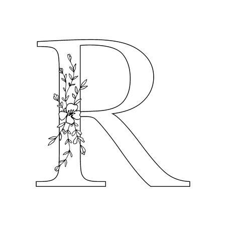Floral letter R vector illustration
