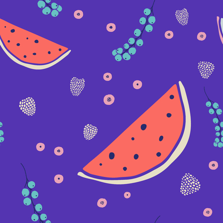 Fresh seamless pattern with fruits and berries