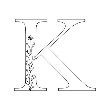 Floral letter K. Romantic lettering design with flowers. Isolated vector mono line symbol. Ilustrace